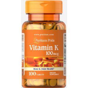 Витамин К-2, Vitamin K-2, Puritan's Pride, 100 мкг, 100 таблеток