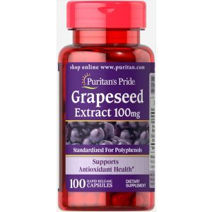 Экстракт виноградной косточки, Grapeseed Extract, Puritan's Pride, 100 мг, 100 капсул