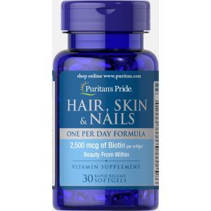 Формула для волос, кожи, ногтей, Hair, Skin & Nails One Per Day Formula, Puritan's Pride, 30 капсул