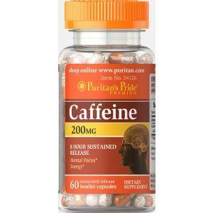 Кофеин, Caffeine, 8-Hour Sustained Release 200 мг, Puritan's Pride 60 капсул