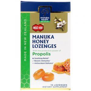 Леденцы с медом Манука и прополисом, Honey Lozenges, Manuka Health, MGO 400+, 15 леденцов (Default)