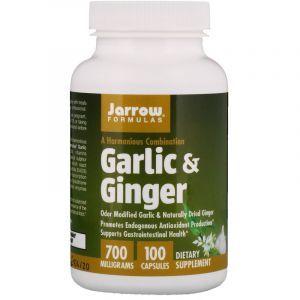 Корень имбиря и чеснок (Garlic Ginger), Jarrow Formulas, 700 мг, 100 капсул (Default)