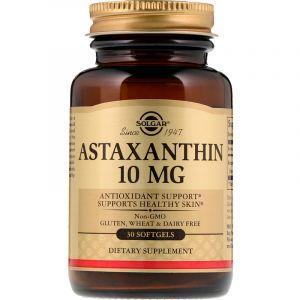 Астаксантин, Astaxanthin, Solgar, 10 мг, 30 гелевых капсул (Default)
