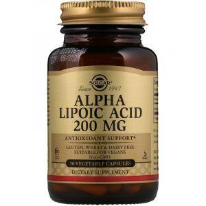 Альфа-липоевая кислота, Alpha Lipoic Acid, Solgar, 200 мг, 50 капсул (Default)