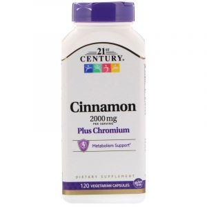Корица и хром, Cinnamon, 21st Century, 2000 мг, 120 кап. (Default)