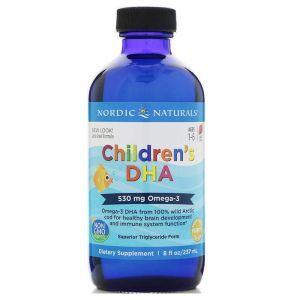 Жидкий рыбий жир для детей, Children's DHA, Nordic Naturals, клубника, 237 мл (Default)