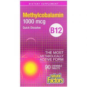 Витамин В12, Methylcobalamin, Natural Factors, 1000 мкг, 90 таблеток (Default)