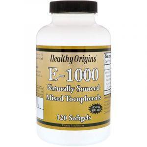 Витамин Е, Vitamin E, Healthy Origins, 1000 МЕ, 120 капсул (Default)