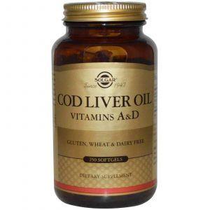 Витамин А и D из печени трески, Solgar, 250 капс