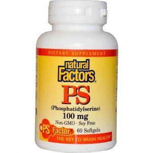 Фосфатидилсерин, Natural Factors, 100 мг, 60 кап.