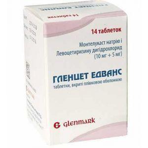 Гленцет Эдванс, Glencet Advance, Glenmark, от аллергического ринита, 14 таблеток