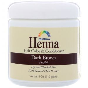 Хна для волос, Henna, Rainbow Research, шатен, цвет и кондиционер, 113г.