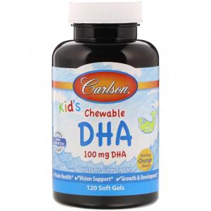 Рыбий жир для детей, Kids Chewable DHA, Carlson Labs, апельсин, 120 капсул