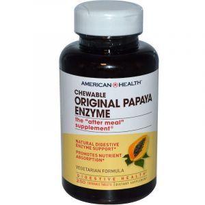 Папайя, Papaya Enzyme, American Health, 250 жевательных таблеток (Default)