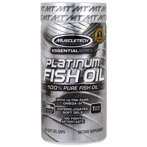 Рыбий жир, 100% чистый, Platinum Fish Oil, Muscletech, 100 гелевых капсул