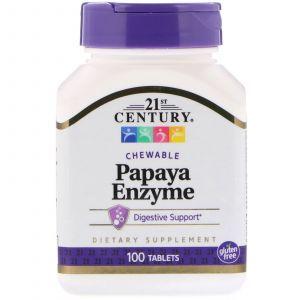 Папаин, Papaya Enzyme, 21st Century, 100 таблеток (Default)