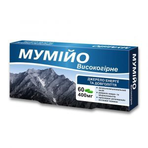 Мумие высокогорное, Красота и здоровье, 400 мг, 60 капсул