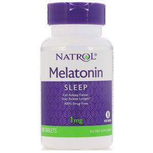 Мелатонин, Melatonin, Natrol, 1 мг, 90 таблеток