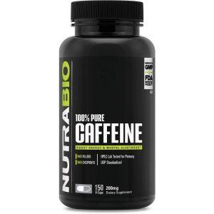 Кофеин, 100% Pure Caffein, NutraBio Labs, 200 мг, 150 вегетарианских капсул