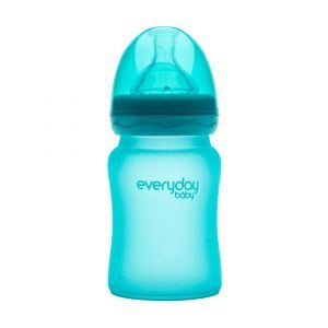 Детская бутылочка, Glass Baby Bottle, Everyday Baby, стеклянная, термочувствительная, бирюзовая, 150 мл
