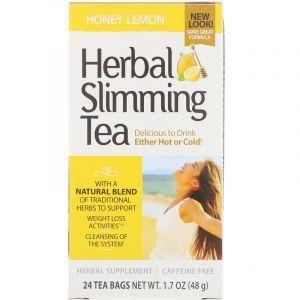 Чай для похудения (мед, лимон), Herbal Slimming Tea, 21st Century, без кофеина, 24 пак., (45 г) (Default)