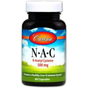 Ацетилцистеин АЦЦ (N-ацетилцистеин), N·A·C, Carlson Labs, 500 мг, 60 капcул