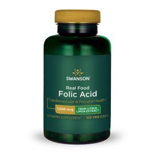 Фолиевая кислота, Ultra Real Food Folic Acid, Swanson, 1000 мкг, 100 вегетарианских капсул