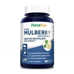 Белая шелковица, экстракт листьев, White Mulberry, NusaPure, 2500 мг, 200 вегетарианских капсул