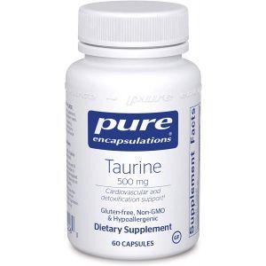 Таурин, Taurine, Pure Encapsulations, 500 мг, 60 капсул
