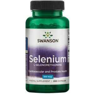 Селен (L-Селенометионин), Selenium, Swanson, 100 мкг, 200 капсул
