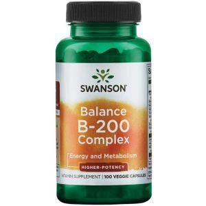 Комплекс витаминов В-200,  Balance Vitamin B-200, Swanson, высокоэффективный, 100 вегетарианских капсул