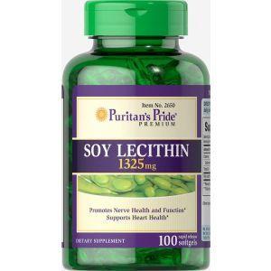Лецитин из сои, Soy Lecithin, Puritan's Pride, 1325 мг, 100 гелевых капсул