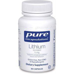 Литий (оротат), Lithium (Orotate), Pure Encapsulations, 5 мг, 90 капсул