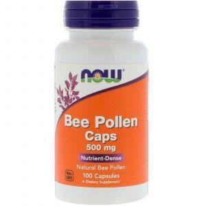Пчелиная пыльца, перга, Bee Pollen, Now Foods, 500 мг, 100 капсул