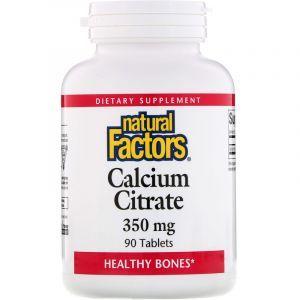 Цитрат кальция (Calcium Citrate), Natural Factors, 350 мг, 90 таблеток (Default)