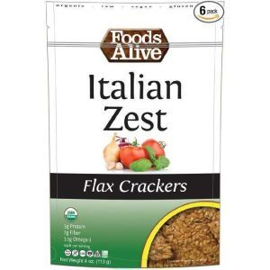 Крекеры из льна с италийскими травами, Flax Crackers, Foods Alive, 113 г