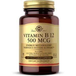 Витамин В12, Vitamin B12, Solgar, 500 мкг, 100 вегетарианских капсул