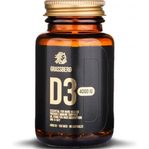 Витамин D3, Vitamin D3, Grassberg, 4000 МЕ (100 мкг), 90 капсул