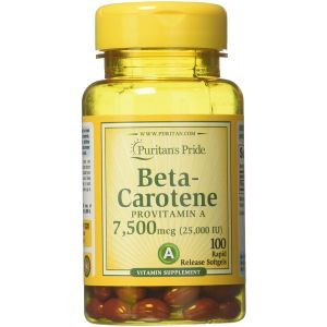 Бета-каротин, Beta-Carotene, Puritan's Pride, 7500 мкг, 100 гелевых капсул