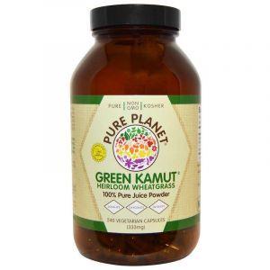 Пророщенная пшеница и люцерна, Green Kamut, Pure Planet, 240 вегетарианских капсул