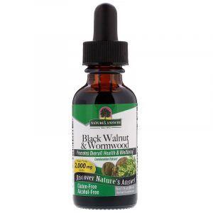 Черный орех и полынь (Black Walnut Wormwood), Nature's Answer, без спирта, 2000 мг, 30 мл. (Default)