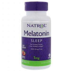 Мелатонин быстрого высвобождения (вкус клубники), Melatonin, Natrol, 1 мг, 90 таблеток