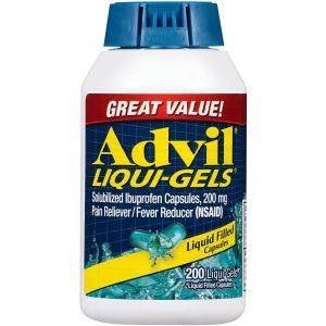 Ибупрофен, обезболивающее и жаропонижающее средство, Pain Reliever and Fever Reducer, Advil, 200 гелевых капсул