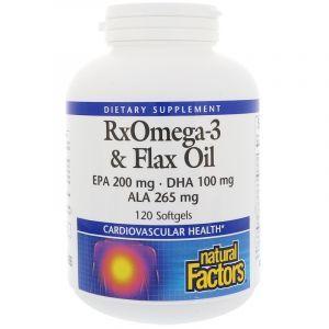 Льняное масло, RxOmega-3 & Flax Oil, Natural Factors, 120 гелевых капсул (Default)