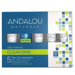 Набор по уходу за лицом (Skin Care Essentials), Andalou Naturals, 5 шт
