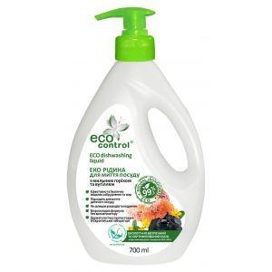Средство для мытья посуды с мыльным орехом и углем, Eco Contro, 700 мл