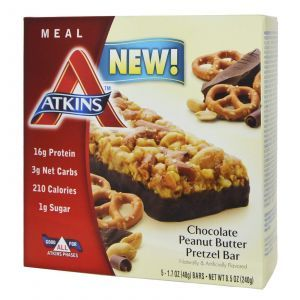 Шоколадные батончики со вкусом претцелей и арахисового масла, Chocolate Bar, Atkins, 5 бат.
