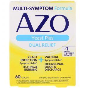 Лечение молочницы, Yeast Plus, Azo, 60 таб.