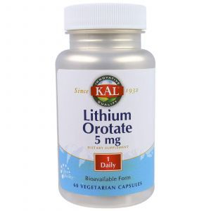 Литий, Lithium Orotate, KAL, 5 мг, 60 кап.