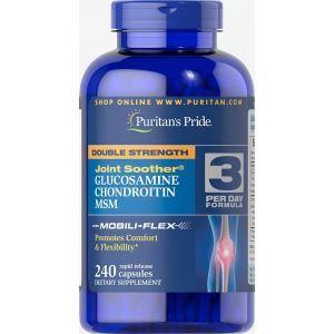 Глюкозамин, хондроитин и МСМ, Glucosamine, Chondroitin MSM, Puritan's Pride, двойная сила, 240 капсул